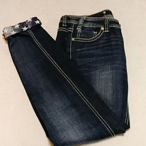 Rock&Roll Cowgirl Skinny Jeans Sz 28 Stars& Stripe